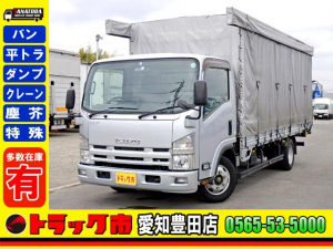 いすゞ エルフトラック  平ボディー 幌カーテン ワイドロング 保証書 2t 小型 軽油 AT