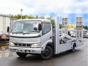日野 デュトロ  3トン ハイグレード 積載車 2台積み キャリアカー ワイド超超ロング 古河ユニック ウインチ付