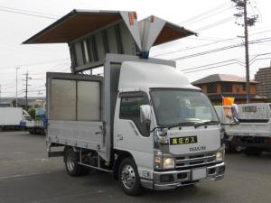 いすゞ エルフトラック 全低床アルミウィング3トン積・メッキパーツ導風板付き