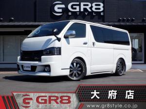 トヨタ ハイエースバン ロングスーパーGL ダイナスティフルエアロ/17inアルミ/Wエアバック/AC100V電源/GR8オリジナルレザー調シートカバー/ローダウン/ホワイトレタータイヤ/SD地デジナビ/ユーロボンネット/Bluetooth