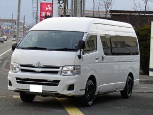 トヨタ ハイエースコミューター スーパーロングGL 4WD トランスポーター仕様 リモコン電動ウインチ ホワイトレタータイヤ 純正ナビ