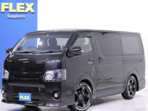 トヨタ レジアスエースバン ロングスーパーGL 4WD 寒冷地仕様 KENWOODナビゲーション ETC フロント・サイドカメラ FLEXオリジナルDelf03 17in