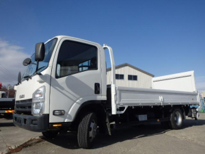 いすゞ エルフトラック ロングフルフラットロー 新明和アーム式パワーゲート付き 2t 拡幅ワイドロング全低床平ボデー 4WD