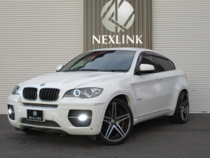 BMW X6 xDrive 35i 4WD 検R4年9月 ダウンサス 22インチ リアウィング ドア下同色塗装済 HID6000K装着 イカリング フォグ ナンバー灯LED装着