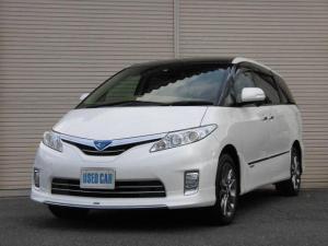 トヨタ エスティマハイブリッド X サンルーフ両側電動ドアモデリスタエアロHDDナビフルセグTVBカメラリヤフリップモニター