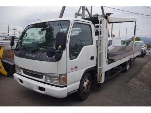 いすゞ エルフトラック フルフラットロー 日新工業製2台積スーパーキャリア 車載車  6MT 積載3.1t