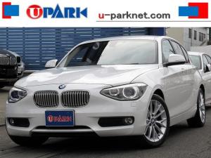 BMW 1シリーズ 116i ファッショニスタ ベージュ革・iDriveナビ・Bカメラ・HIDライト・Cソナー・ETC・スマキー・BTオーディオ・AUX・USB・17AW・シートヒーター・オートライト・本革ステア・アイドリングストップ・記録簿
