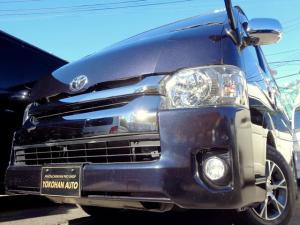 トヨタ ハイエースバン ロングワイドスーパーGL 4型ダークプライム6AT1オーナーナビTVセキュリティスマートキーLED専用レザー黒木目