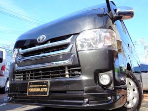 トヨタ ハイエースバン ロングスーパーGL 4型3.0DT1オーナーSDフルセグBカメラスマートキーエアログリルLED黒革黒木目WエアBTベル交換済