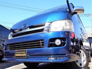 トヨタ ハイエースバン ロングワイドスーパーGL 4WD1オーナー禁煙ナビTVバックカメラDレコーダーエアロ前後センサー黒革黒木目インテリアWエアB