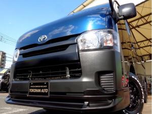 トヨタ ハイエースバン ロングDX 4型6AT法人1オーナーナビTVバックカメラエアロBKインナーLEDライト新品15AW&ナスカー黒革調シート低床6人5ドア