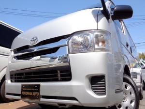 トヨタ ハイエースバン ロングDX GLパッケージ 4型3.0ディーゼルターボ1オーナーナビTVバックカメラDレコーダーWエアコン黒革調シート後席板張り加工AC100VTベル交換済低床6人5ドア