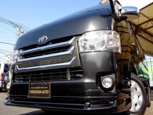 トヨタ ハイエースバン ロングスーパーGL 4型3.0ディーゼルターボ1オーナーSDフルセグバックカメラセキュリティスマートキーステアリングスイッチエアログリルLEDライト黒革調シートWエアバックAC100V