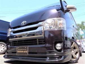 トヨタ ハイエースバン スーパーGL ダークプライム 4型3.0ディーゼルターボ1オーナーSDフルセグバックカメラセキュリティースマートキーエアロLEDライト18AWローダウンLEDテール専用レザー&黒木目インテリアTベル交換済み