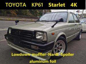 トヨタ スターレット  絶版旧車KP61スターレットセミレスローダウンフルバケマフラーナルディF・Rスポイラータワーバー外アルミ