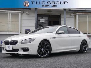 BMW 6シリーズ 640iグランクーペ Mスポーツパッケージ Mパフォーマンス仕様 サンR 半革 20AW カーボンリアスポイラー LEDヘッドライト パフォーマンスグリル 地デジTV iドライブ Bカメラ ウッドパネル 2年保証