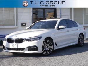 BMW 5シリーズ 523d Mスポーツ G30型 1オーナー車 稀少サンルーフ LEDヘッドライト&ハイビームアシスト アクティブPDC緊急ブレーキ 衝突軽減&車線逸脱&歩行者&側面衝突警告 Pアシスト タッチパネルナビTV 2年保証