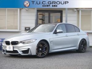 BMW M3 M3 7速MDCT 431馬力 1オーナー シルバーストーン革 レーンチェンジ警告 LEDヘッドライト カーボンルーフ 衝突軽減ブレーキ 車線逸脱&歩行者警告 地デジHDDナビ Bカメラ 2年保証