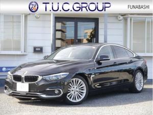 BMW 4シリーズ 420iグランクーペ ラグジュアリー 後期LCI ヒーター黒革 追従ACC LEDヘッドライト&テール 衝突軽減ブレーキ 車線逸脱警告 歩行者警告 フルセグTV 新HDDナビ Bカメラ 電動トランク スマートキー ウッドパネル 2年保証