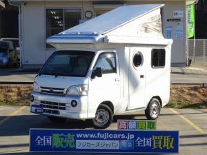 ダイハツ ハイゼットトラック  キャンピングカー 軽キャンパー バンショップミカミ テントむし FFヒーター サイドオーニング サイクルキャリア インバーター シンク・ポリ容器 外部電源 走行充電 サブBT 稀少5MT HDDナビ