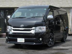 トヨタ ハイエースバン ロングワイドスーパーGL 公認8人乗り 3ナンバー 4型仕様 HDDナビ バックカメラ リアモニター 17インチAW ローダウン 仮設シャワー サブバッテリー