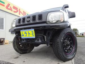 スズキ ジムニー XL 4WD 5MT車 2型 ICターボ 社外マフラー 社外シフトノブ フロントリヤバンパーカット加工 ルーフボンネットフード黒塗装 タイミングチェーン ABS サイドドアバイザー 純正カセットデッキ