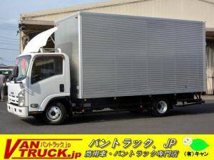 いすゞ エルフトラック ワイド超ロング アルミバン ラッシング2段 導風板 2トン 積載2000kg 日本フルハーフ製 高箱 左電格ミラー ETC