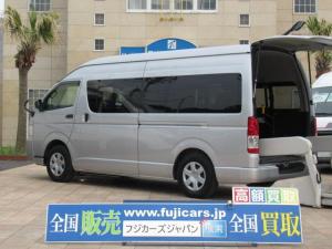 トヨタ ハイエースコミューター  福祉車両 ウェルキャブ リアリフト 9人車いす4基固定 電動固定装置 電動ステップ SDナビ バックカメラ キーレス