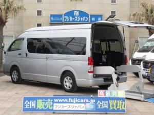 トヨタ ハイエースコミューター  福祉車両 ウェルキャブ リアリフト 9人乗車いす4基固定 Dタイプ 電動固定装置 ドア連動電動ステップ パワースライドドア 純正SDナビ バックカメラ ワンセグ キーレス