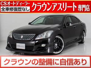 トヨタ クラウン 2.5アスリート 黒革/HDDマルチ/新品フルエアロ%20インチAWタイヤ/ローダウン/地デジ/DVD再生/Bluetooth再生/カラーバックモニター/HIDライト
