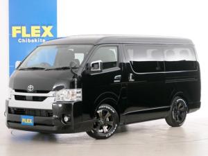 トヨタ ハイエースワゴン GL 10人乗り3ナンバー登録 ガソリン4WD 寒冷地仕様 FLEXオリジナル内装アレンジVer1 ローダウン 17インチAW ナビ ETC 後席モニター ベッド テーブル 床張り