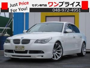 BMW 5シリーズ 525i フロントエアロ トランクスポイラー 19インチAW キーレス ナビ CD MD サンルーフ 革 シートヒーター サンシェード