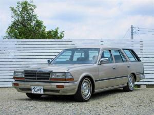 日産 グロリアワゴン GL 7人乗り 3列シート ローダウン Y31シーマ純正アルミ ホワイトリボンタイヤ