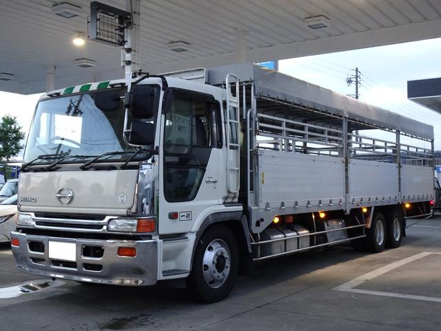 家畜運搬車 積載11.9t 幌付き 左右アオリ開閉式 荷台屋根幌付き アルミブロック ツーデフ 3軸 低床 リーフサス