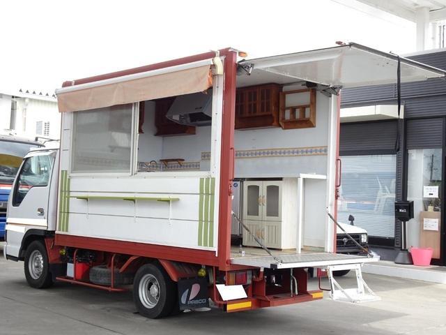 移動販売車 AT車 冷蔵庫 シンク 換気扇 給排水 加工車登録 サイドオーニング 車輌総重量2,695Kg NOx・PM適合