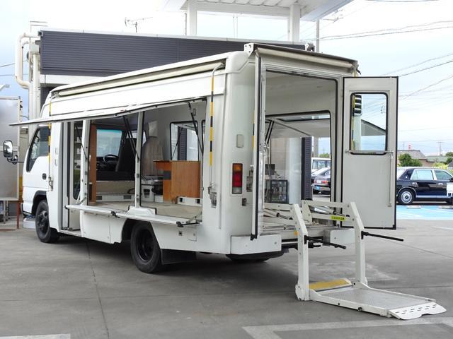 図書館車 ベース車 移動販売 キッチンカー 自動ドア 左右オーニング FF軽油ヒーター リア車椅子リフト 車載拡声器