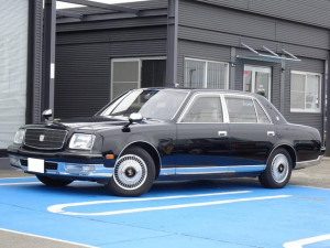 トヨタ センチュリー フロアシフト 中期型 GZG50 フロア6速AT車 フェンダーミラー LEDテール 神威エターナルブラック202 ハーフシートカバー 電動リアカーテン ウールファブリックシート ガラスヘッドライト