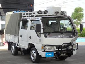 いすゞ エルフトラック  Wキャブ パートタイム4WD マニュアルハブ 5MT 荷台三方開き グリルガード ルーフラック リアラダー 1ナンバー NOx・PM適合