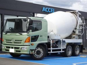 日野 ヒノレンジャー  カヤバミキサー車 増トン ドラム容量9.8立米 最大混合容量5.0立米 積載11,500Kg KYB MR5020L 280馬力 6MT・3ペダル J08Eターボ ナンバー付き 電動ホッパー 水タンク