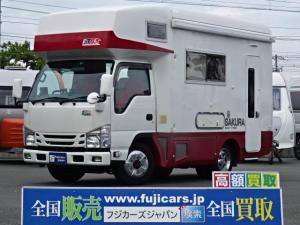 いすゞ 日本特殊ボディ サクラ i-cool(24Vクーラー) FFヒーター ツインサブ 走行充電 外部充電 インバーター1500W ルーフベント サイクルキャリア DC冷蔵庫 電子レンジ サイドオーニング BRIDEシート