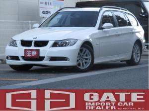 BMW 3シリーズ 320iツーリング ハイラインパッケージ 正規ディーラー車 記録簿 黒皮シート 社外ナビ Bカメラ DVD再生 キーレス HID 16アルミ ETC シートヒーター フルフラット パワーシート Pスタート ABS Wエアバック AUX 取説