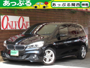 BMW 2シリーズ 218iグランツアラー Mスポーツ 7人乗り 黒本革シート Mスポーツエアロ 17インチAW LEDヘッドライト 衝突軽減ブレーキ アダプティブクルコン ヘッドアップディスプレイ 電動リアゲート パーキングセンサー バックカメラ ナビ