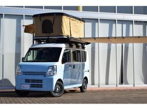 三菱 ミニキャブバン M 4WD 届け出済み未使用車 車中泊仕様 オリジナルペイント ルーフテント サイドオーニング 室内ベッドキット リヤカーフィルム リヤカーテン イクリプスSDナビ 前後ドラレコ バックカメラ ETC