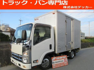 いすゞ エルフトラック 2トン アルミバン 荷寸L314-W176-H203 全低床 フロア5速MT サイドドア付 ラッシングレール2段 ETC ターボ 坂道発進補助装置 アイドリングストップ ASR DPF キーレス 左片側電格 レベライザー オーバーヘッドコンソール 日本フルハーフ