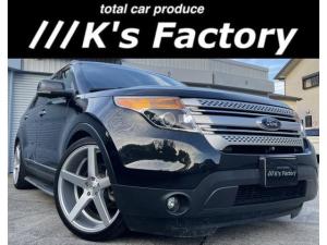 フォード エクスプローラー XLT エコブースト ローダウンサス/22インチブラッシュドアルミ/タイヤ4本新品/ヒッチメンバー/7人乗り/ルーフレール/パワーシート/Bluetooth対応/シートヒーター/ETC