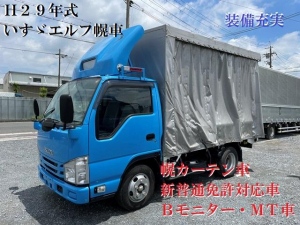 いすゞ エルフトラック フルフラットロー H29年式 TRG-NJR85A 5MT カーテン幌車 10尺ボディ 1ナンバー車