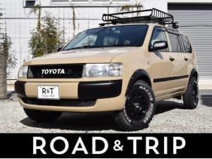 トヨタ プロボックスワゴン F エクストラパッケージ ベージュ全塗装/オーバーフェンダー/リフトアップ/マキシスバックショットタイヤ/3ナンバー登録/ルーフラックルーフベース/TOYOTAグリル
