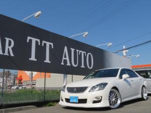 トヨタ クラウン 3.5アスリート 車検整備付 スマートキープッシュエンジンスタート 純正メーカーナビ バックモニター フルセグTV Bluetooth 車高調 BBS20インチアルミ 黒革調シートカバー 純正ビルトインナビ連動ETC