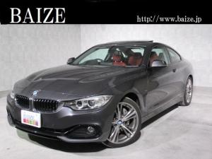 BMW 4シリーズ 435iクーペ スポーツ 買取・ワンオーナ・禁煙・HDDナビ・地デジ・サンルーフ・HUD・赤革ーシート・インテリジェントセーフティ・フォグランプ・コーナーセンサー・HID