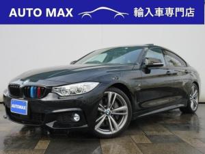 BMW 4シリーズ 435iグランクーペ Mスポーツ /サンルーフ/純正ナビTV/Bカメラ/ヘッドアップディスプレイ/白レザーシート/シートヒーター/社外フロントスポイラー/社外可変バルブマフラー/社外リアディフューザー/社外トランクスポイラー/